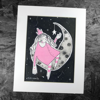 Girl on the Moon- Original Artwork by Twinkle & Gloom