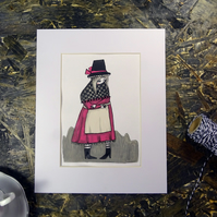 Welsh Lady in Pink- Original Artwork by Twinkle & Gloom