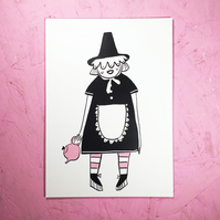 'Welsh Lady with Teapot' Small Poster Print