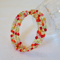 Orange and Lemon Memory Wire Bracelet