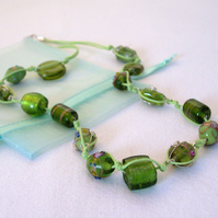 Green Art Glass Bead Necklace