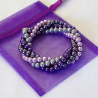 Twisted Pearl Bracelet in Purple and Pink