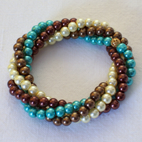 Twisted Pearl Bracelet in Turquoise and Bronze