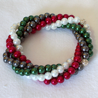 Twisted Pearl Bracelet in Red, Green, White and Grey