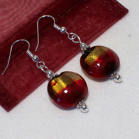 Ruby and Gold Glass Bead Earrings