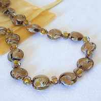 Honey Lampwork Glass Bead Necklace
