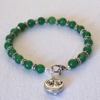 Aventurine Sun and Moon Charm Bracelet
