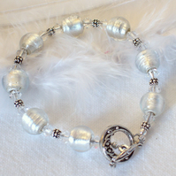 Sparkling White Glass Bead Bracelet