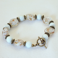 White and Gold Glass Bead Bracelet