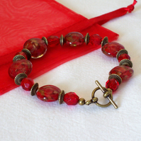 Red and Gold Glass Bead Bracelet