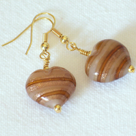 Toffee Glass Heart Earrings