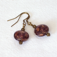 Grape and Gold Glass Bead Earrings