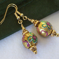 Golden Glass Bead Earrings