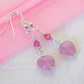Rose Pink Heart Earrings