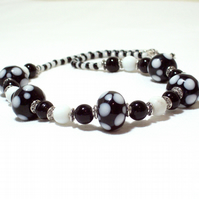 Dotty Black and White Glass Bead Necklace