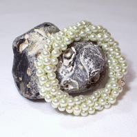 White Twisted Pearl Bracelet