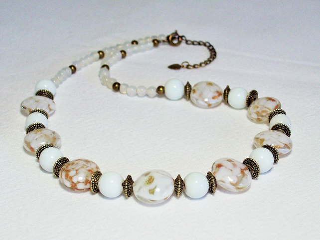 White and Gold Glass Bead Necklace