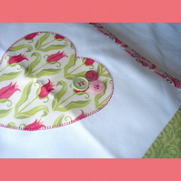 Summer Heart Cushion in Pinks and Green