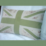 Union Flag Cushion - pink floral