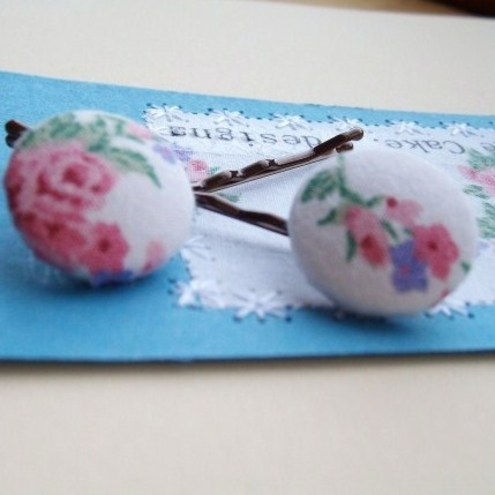 Vintage Fabric Hair Slides by More Cake...
