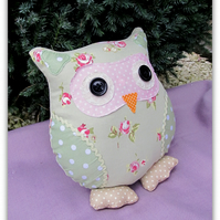 24cm tall owl cushion,  Petunia  Spring.  Easter.