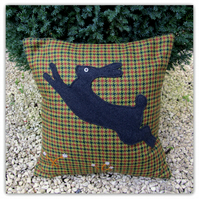 Jumping Hare, with feather pad.  38cm x 38cm  cushion.