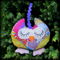 Snoozy owl,  lavender filled.  Door hanger.