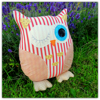 Nautical Nell, a 35cm tall owl cushion.
