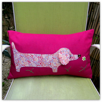 Dachshund cushion.  49cm x29cm.  Includes cushion pad
