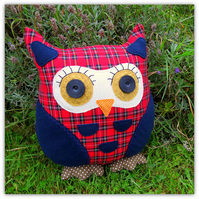 Clarence, a large owl cushion.  35cm tall.