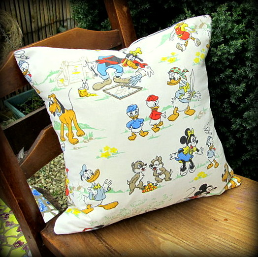 SALE!!! Vintage cushion, using an early 1960's Walt Disney Productions fabric.