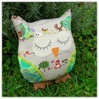Gretel, a 23cm tall owl cushion.