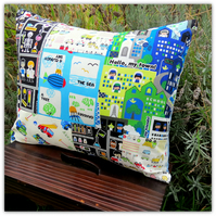 For the playroom!  A vibrant patchwork cushion. With inner cushion pad. Nursery.