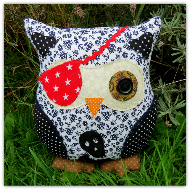 Pirate Owl.  A 23cm tall owl cushion.