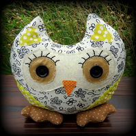 Polly, an owl doorstop. Owl bookend.