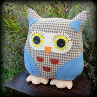 Prudence, a large woollen tweed owl cushion.  35cm tall.