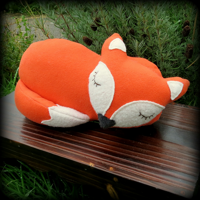 Snoozy fox doorstop,  bookend.  Fox decor.