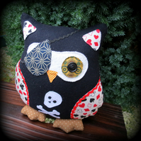A pirate owl cushion.  24cm tall.  Owl decor.  Playroom.