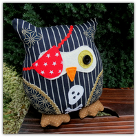 A pinstripe pirate owl cushion. 25cm tall. ( 10 inches ) Owl pillow. Owl decor.