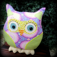Dahlia. A vibrant owl pillow. Owl cushion. 36cm tall. (14.4 inches) Easter.