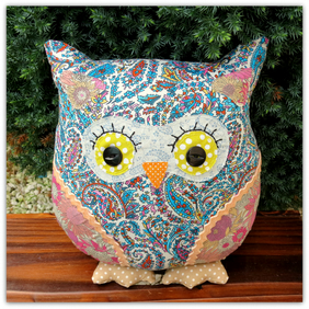 Paisley Blue,  a 25cm tall owl cushion.