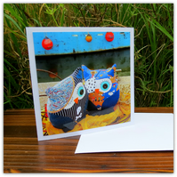 Pirate owls, harbour edge.  A card left blank for your own message.