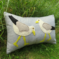 Sea bird cushion. Wading gulls. Complete with cushion pad.