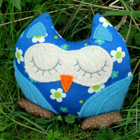 Daisy Blue.  A flower power owl shelf sitter.  Owl Decor.  Sale!