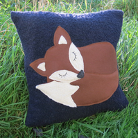 Fox cushion.  SALE!  A snoozy fox on textured wool.  Complete with feather pad.