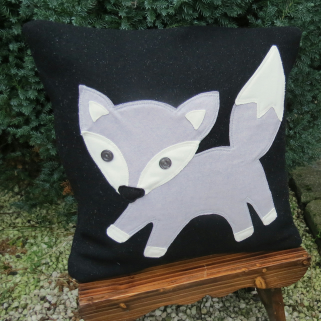 SALE!!!  The curious fox cub.  A fox cushion complete with feather pad.