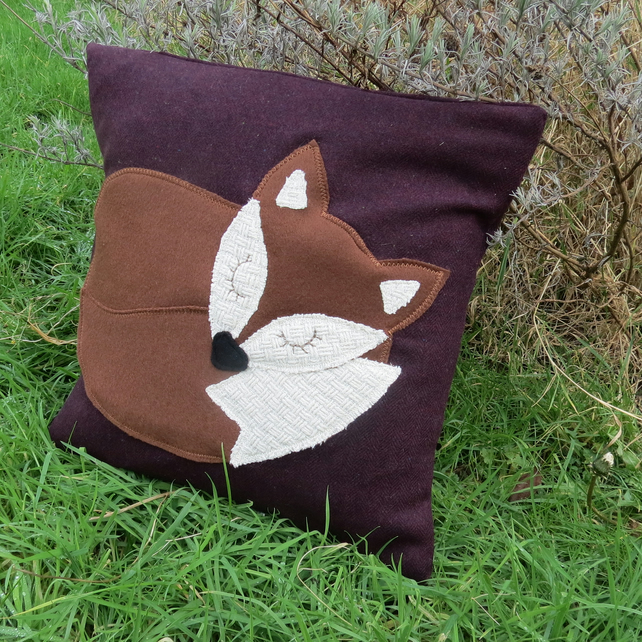 SALE!!!  Fox cushion.  A snoozy fox on aubergine wool. With feather pad.