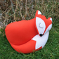 A snoozy fox cushion.  35cm in length.  (13.6 inches)  Woodland decor.