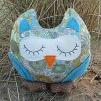 Blossom, a snoozy owl doorstop.  Owl bookend.  Liberty Lawn.