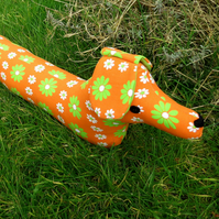 Sale!!!  Cosmic, a groovy dog draught excluder. 1970s flower power.